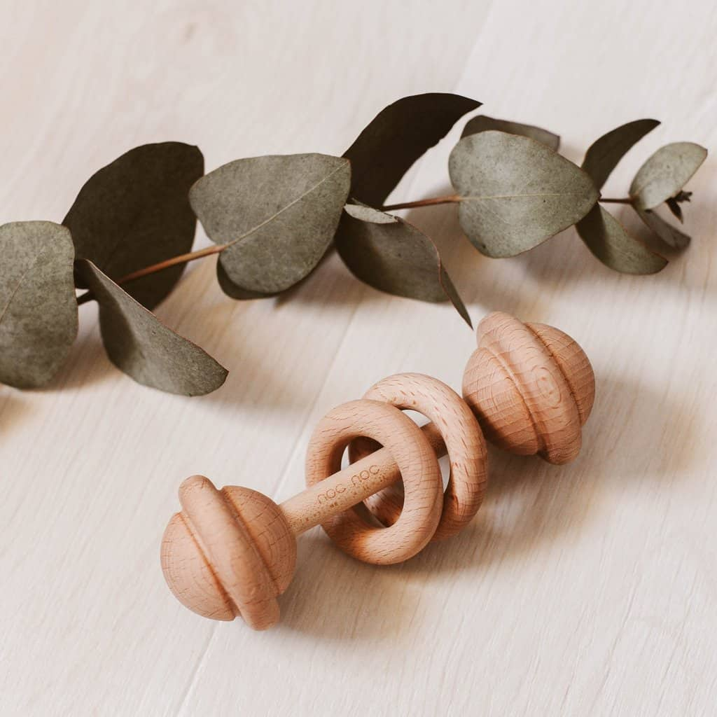 Organic Wooden Baby Rattle Free Shipping In Aust