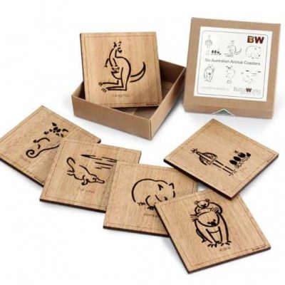 australian animal timber coasters made in Australia