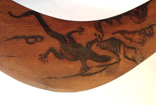 Boomerang tribal art engraved goanna closeup front
