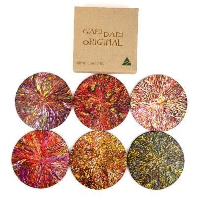 tusam-HCGW001KRDT6 Australian Made Aboriginal Art Coaster Set of 6 Katrina Rubuntja 1_tn