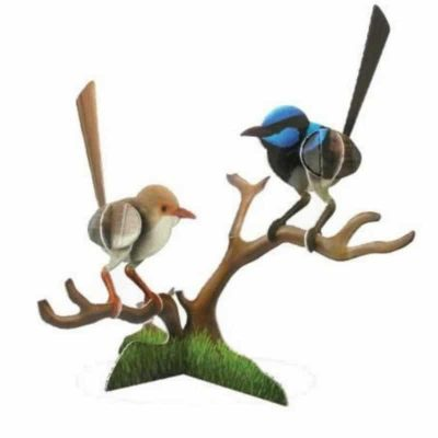 tusam-Australian Made Souvenir 3D Pop Out Construction Postcard Puzzle Superb Blue Wren Bird 1_tn