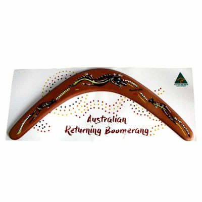 tusam-18 Inch Australian Made Returning Boomerang Crocodile Kangaroo Dot Aboriginal Design 1_tn