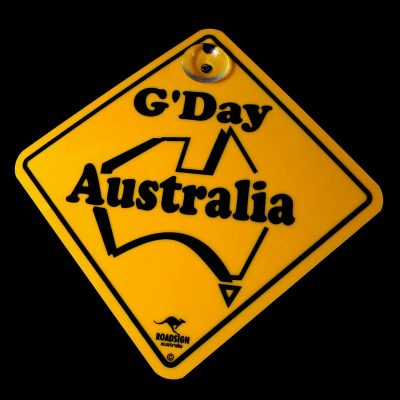 tusam-Australian Made Souvenir Roadsign Car Window Suction Swing Sign G'Day Australia 1_tn