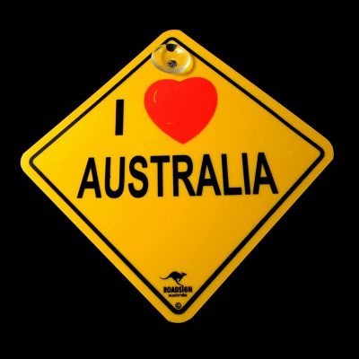 tusam-Australian Made Souvenir Roadsign Car Window Suction Swing Sign I Love Australia 1_tn