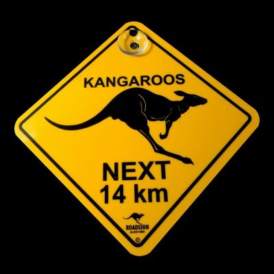 tusam-Australian Made Souvenir Roadsign Car Window Suction Swing Sign Kangaroo 1_tn